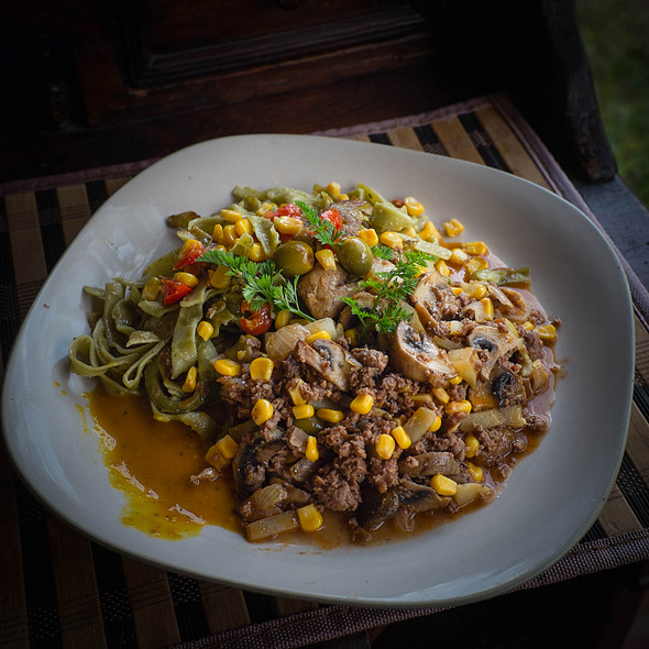 Curried mince with pasta and sweetcorn @ Villa Strelitzia