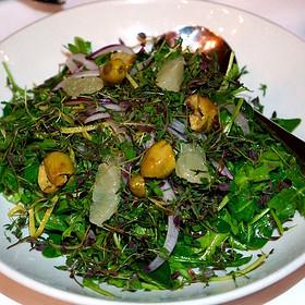 Lebanese thyme salad –herbs, Lebanese arugula, parsley, lemon, green olive, onion