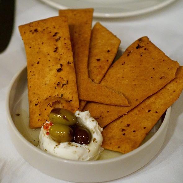 Kaak flatbread with olive labne - ilili, New York, NY