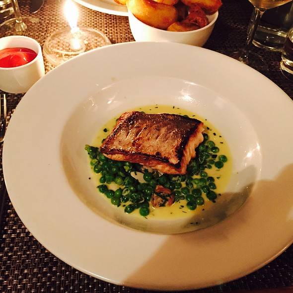 Sea Bass With Minted Peas And Roast Potatoes
