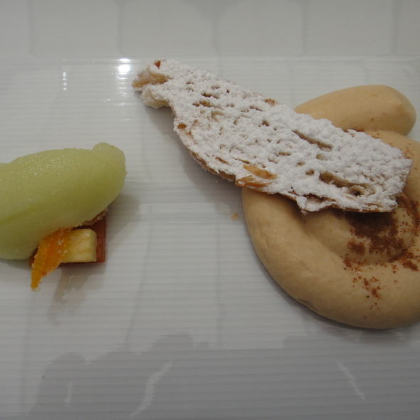 Cinnamon Cream, Apple Sorbet, Dried Apricots