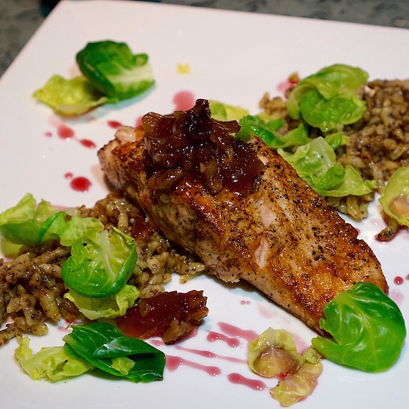 Sautéed Skuna Bay salmon, grain mustard spaetzle, Brussels sprouts, cranberry-apple compote, spiced red wine gastrique