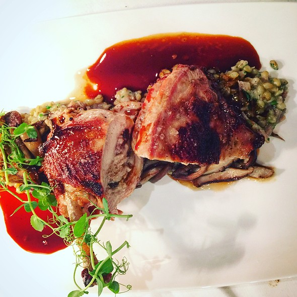 Prugne And Chestnut Stuffed Pheasant, Farro, Crispy Mushroom