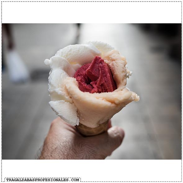 Yogurt and mandarin and raspberry sorbet ice cream @ Amorino