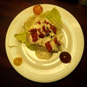 """""""Wedge"""" Salad- Iceburg Lettuce, Smoked Bacon, and Caper Blue Cheese Dressing"""