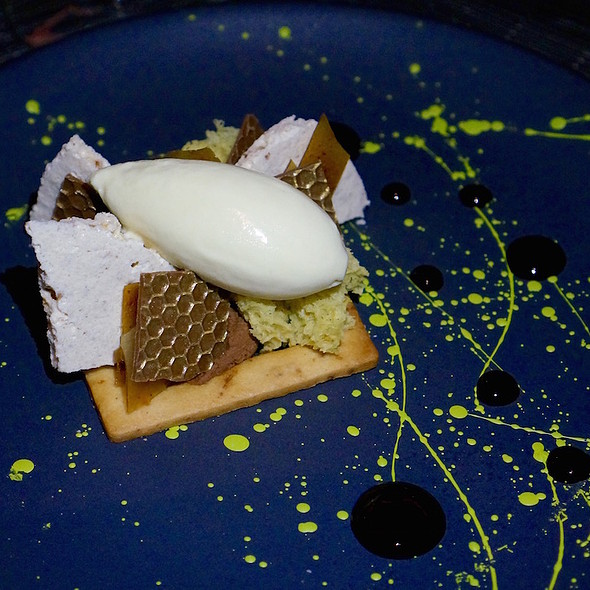 Fennel pollen & praline abstract, praline shortbread, almond cake, fennel pollen gelato, dark chocolate
