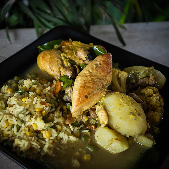 Homemade mild green curry with chicken @ Villa Strelitzia