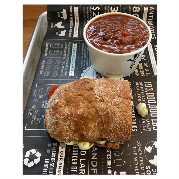 Half Caprese Sandwich And Veggie Chili @ Homegrown Sustainable Sandwich Shop