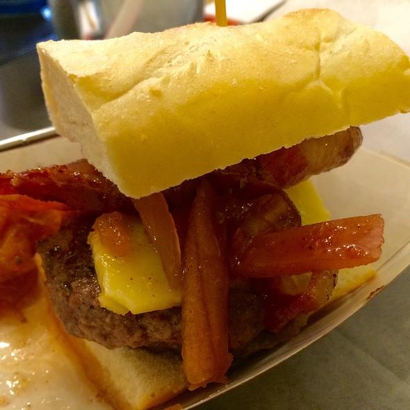Fruit, Bacon, Cheese Burger Slider