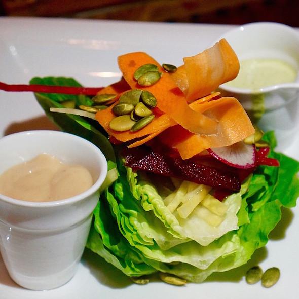 Gem lettuce, radish, carrot,s beets, pumpkin seeds, green goddess, mustard vinaigrette