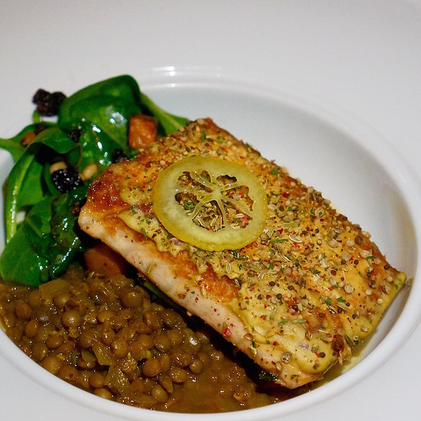 Roasted salmon, lentil curry, spinach, sweet potatoes, currants, pine nuts