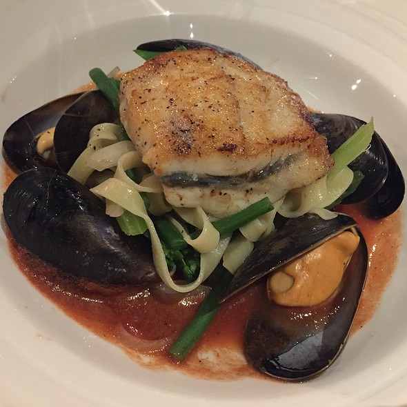 Pan Fried Turbot, Tagliatelle, Mussels And Chorizo Spiced Tomato Sauce @ The Ship