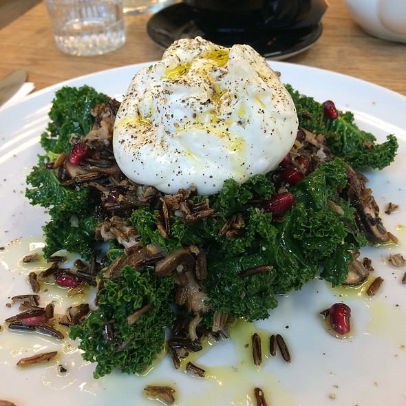 Kale, Pickled Shiitake, Wild Rice, Pomegranate, & Burrata Salad