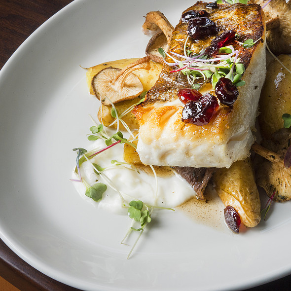 Halibut with fingerlings, shiitakes, cranberry brown butter, pistachios, lemon crema