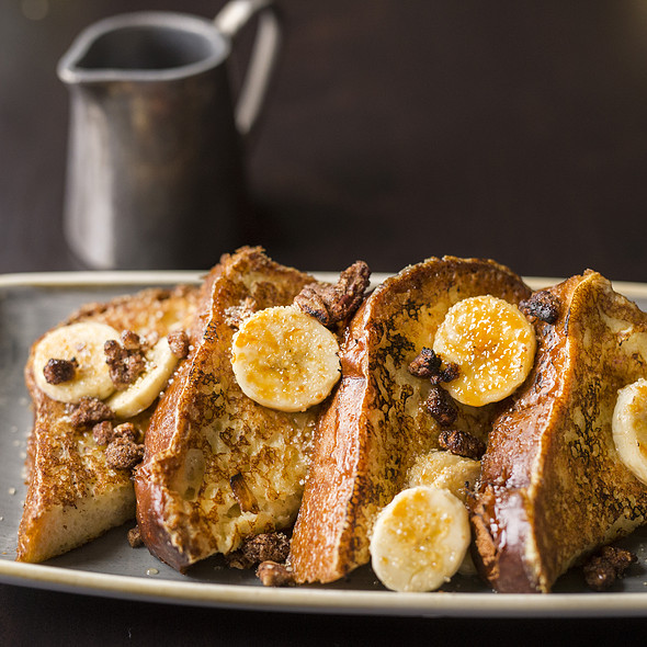 French Toast, brioche bread, toasted nuts, maple butter, bananas