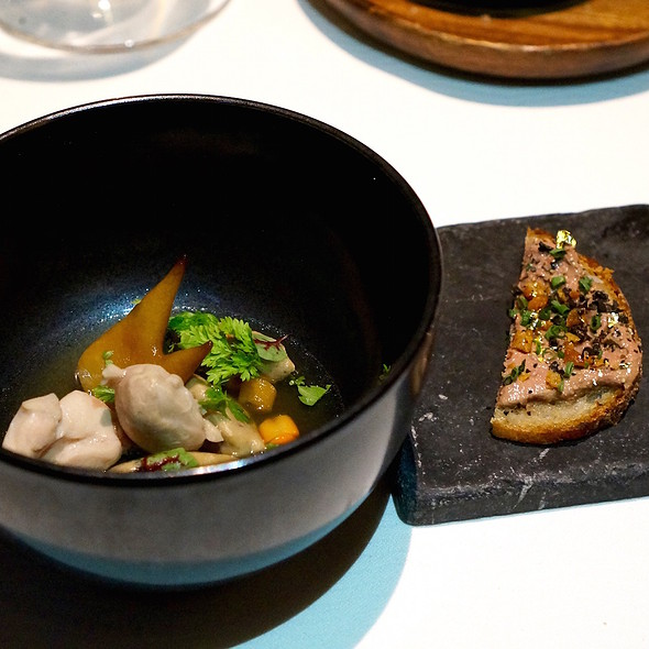 Bouillon of poulard, truffle, cockscomb, liver dumplings @ Sixteen