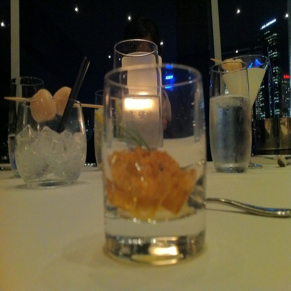 Amuse Bouche Of Eel Jelly, Carrot Puree And Crumbs @ Quay