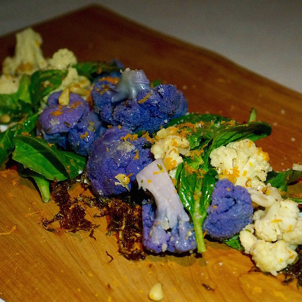 Roasted cauliflower salad, spinach, fried frisée, pine nuts, brown butter, Greek yogurt, orange zest