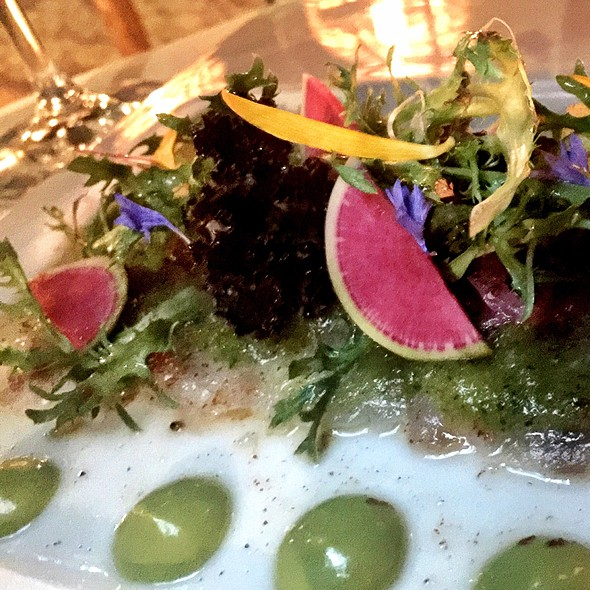 Catch Of The Day Tiradito With Three Dried Chili Vinaigrette Arugula Salad - Fresh - Crispy Seaweed @ Tuna Blanca