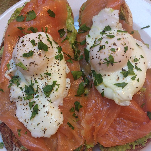 Smoked Salmon, Poached Egg And Avocado On Sourdough Bread