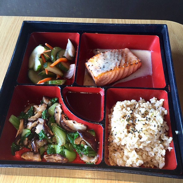 Roasted wild king salmon bento box, bok choy and shiitake mushrooms, sweet pickled cucumber salad, brown rice