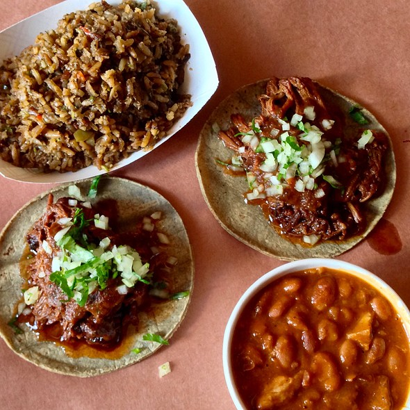 Braised Brisket Tacos, Dirty Rice, Chipotle Beans & Pork @ Smokestack