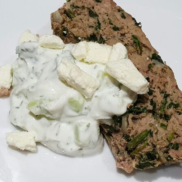 Mediterranean Lamb and Turkey Meatloaf with Tzatziki Sauce and Feta