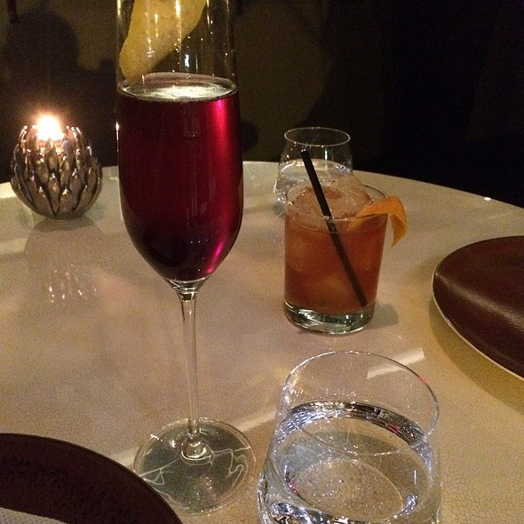"""Kir Petillant"" Star Anise, Creme de Cassis, Lemon @ Volvér, Philadelphia (at The Kimmel Center)"
