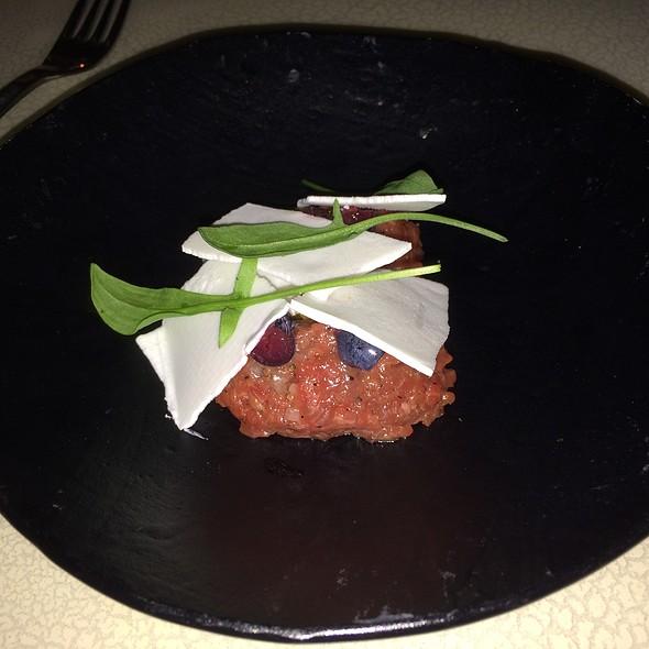 Lamb Tartare, Pickled Blueberry, Frozen Buttermilk Vinaigrette, Juniper