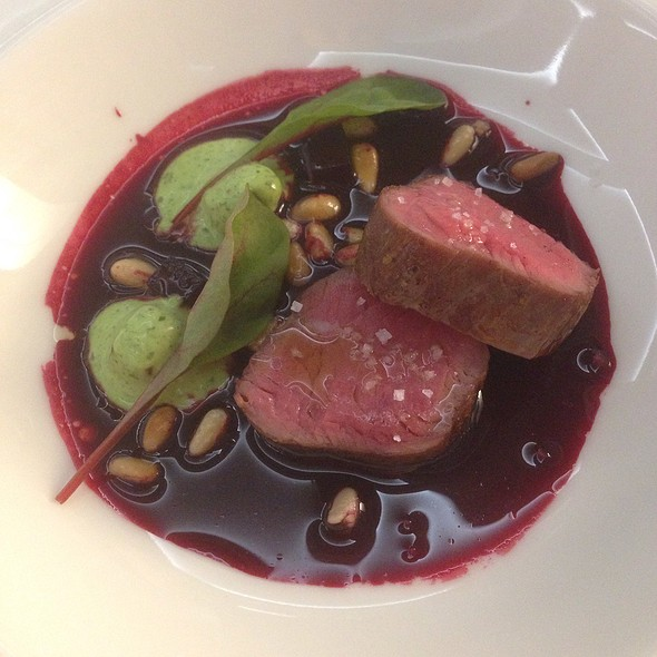 Grilled Beef Fillet, Beetroot Consommé, Pine Nuts And Basil Mayonnaise