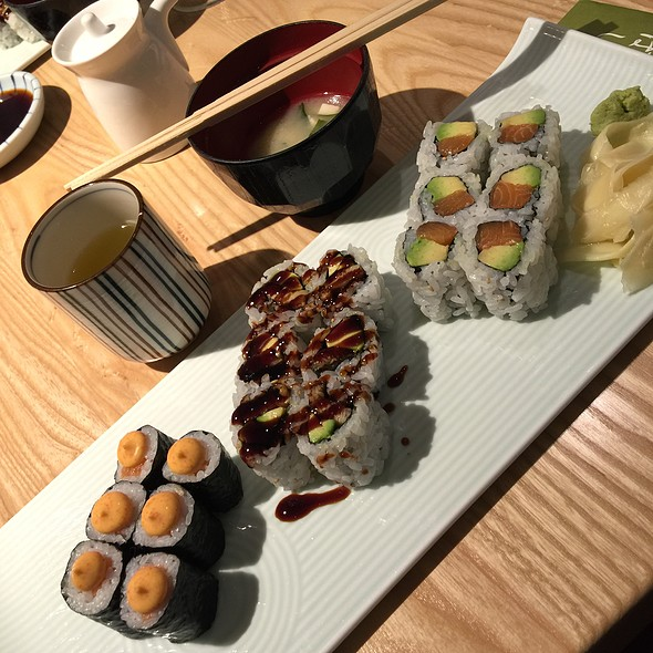 Spicy Salmon, Eel Avocado, And Salmon Avocado Sushi Rolls W Miso Soup And Green Tea