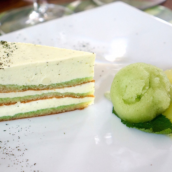 Lime and mint mousse cake with lime sorbet