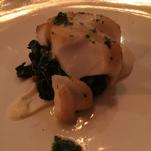 Pan Roasted True Cod With Celery Root Puree, Braised Winter Greens, Pine Nuts, Golden Raisins And Salsa Verde