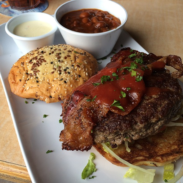 Bacon Cheddar Burger With Baked Beans