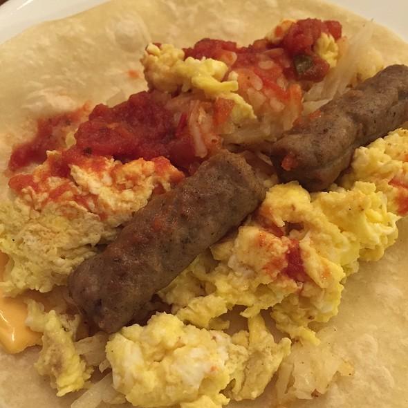 Egg, Cheese, Sausage, And Salsa Breakfast Burrito