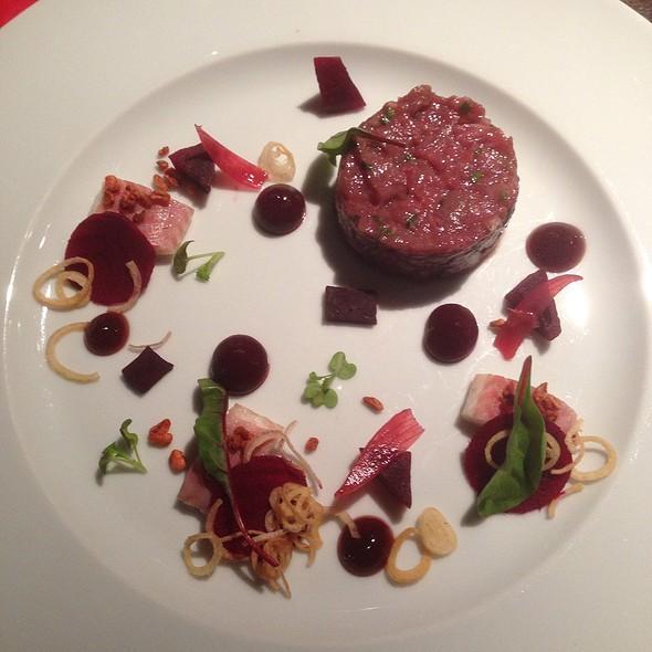 Beef Fillet Tartar And Smoked Eel, Beetroot, Raspberry Ponzu Gel, Shallot, Crispy Bulgur