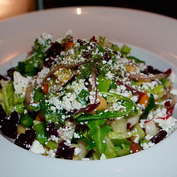 Vegetable chopped salad – chickpeas, beets, romaine, argula, treviso, goat cheese, tomatoes, asparagus, celery, cucumbers