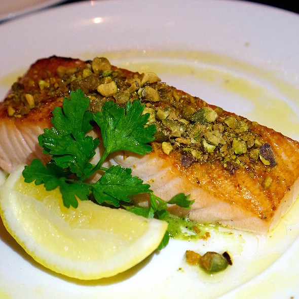 Faroe Island salmon, pistachio pesto