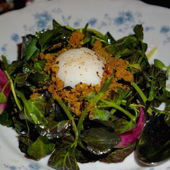 Brussels sprouts salad, smoked onion vinaigrette, slow cooked egg, radish, gouda-rye cracker