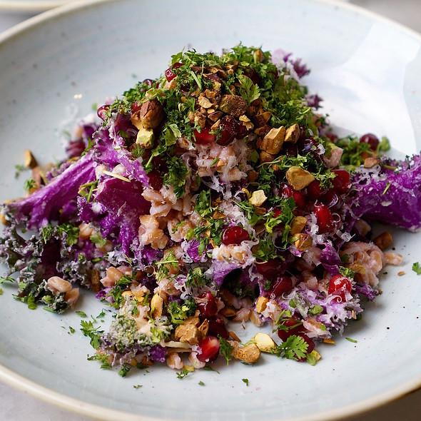 Farro salad, pomegranate, pistachio, flowering kale, mascarpone vinaigrette