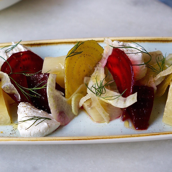 Roasted and raw beets, shaved fennel, whipped ricotta, chestnut honey