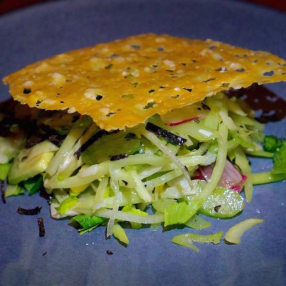 Shaved celery salad, avocado, trumpet royale mushrooms, parmesan, fresh black truffles