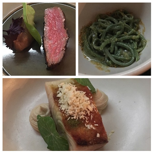Bear Creek Beef, Seaweed Bucatini With Scallop Bottarga, Hamachi Cashew @ The Catbird Seat