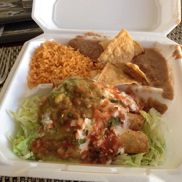 Chicken Flautas With Beans And Rice