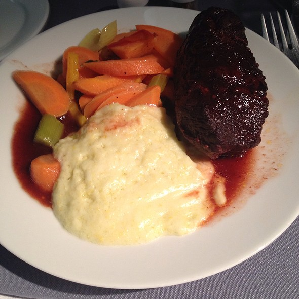 Oriental Bbq Short Rib With Wasabi Cream Grits And Stir Fried Vegetables