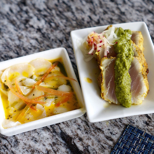 Conch passion fruit ceviche and marlin tataki
