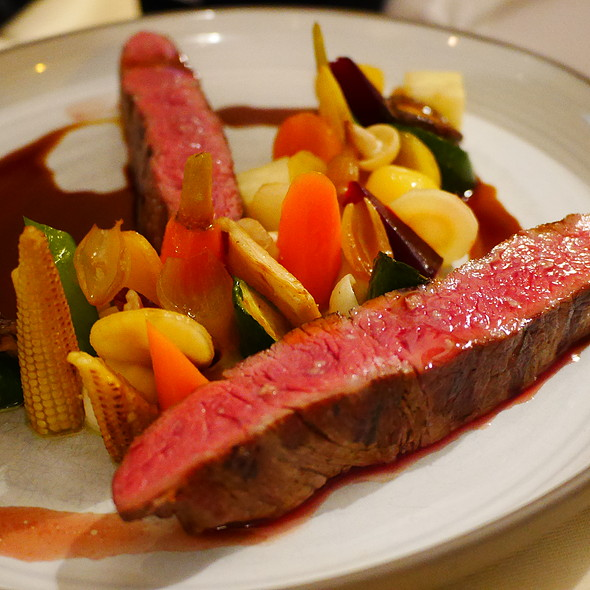 Dry Aged Beef Donald Russell Rump Steak, Mixed Vegetables, Onions, Mushrooms, Saikyo-Miso-Jus