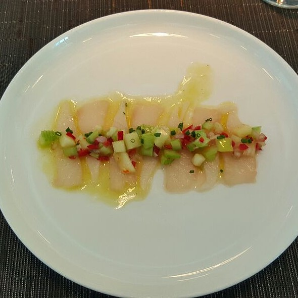 Kingfish Sashimi With Apple Celery Chilli Ginger And Lemon Oil