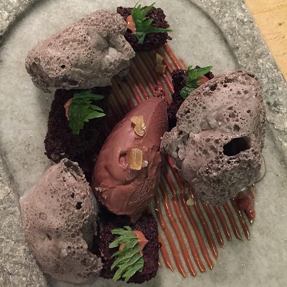 Chocolate Mouse, Mandarin Sauce And Black Sesame Seed Foam @ Mont-Bar