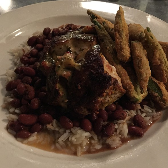 Blackened Tile Fish, Fried Okra, Red Beans And Rice